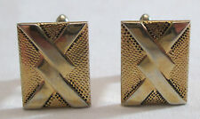 Vintage SWANK Cuff Links Rectangular Overlapping Pattern Gold Tone Cufflinks