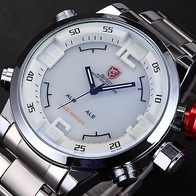 SHARK Mens Oversized White Big Face LED Day Date Steel Analog Sport Quartz Watch