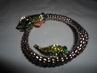 Cobra Rattle Snake Green White Wrap Around Bangle Bracelet