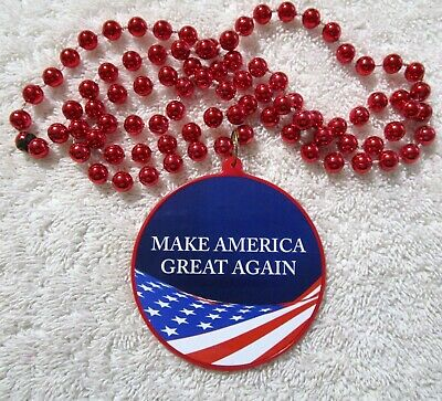 Patriotic Make America Great Again Mardi Gras Necklace Bead Trump Rwb B845 Ebay