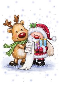 Motivstempel-Clearstamps-Weihnachtsmann-mit-Rentier-Xmas-Wild-Rose-Studio-CL457