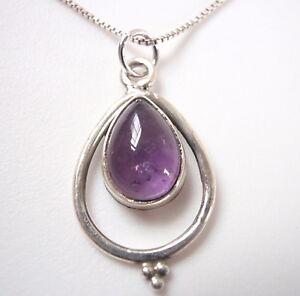Amethyst Teardrop in Hoop 925 Sterling Silver Pendant Corona Sun Jewelry