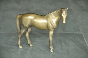 Old-Brass-Handcrafted-Unique-Solid-Horse-Figurine-Rich-Patina
