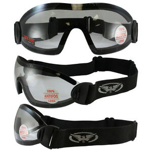 Brillant 2 Flare Goggles Motorcycle Riding Skydiving Googles Clear Lens Shatterproof Belle En Couleur