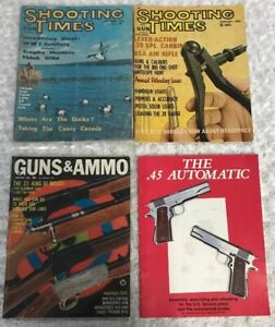 Lot-of-4-Vintage-Book-Magazine-GUNS-amp-AMMO-The-Shooting-Times-The-45-Automatic