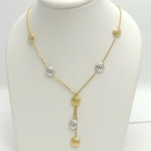 New 18k Gold 750 Italy Novello Designer Lariat Beaded Chain Necklace