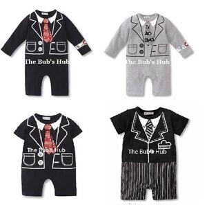 Baby Boy Formal Clothing Jumpsuit Romper 9-18M Tuxedo Baby gentlemen suit set