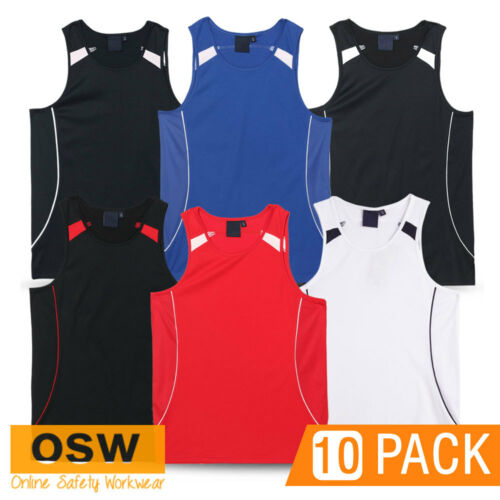 10 X MENS//LADIES SPORTS TOUCH OZ TAG BREATHABLE CLUB TEAM GYM JERSEY SINGLETS