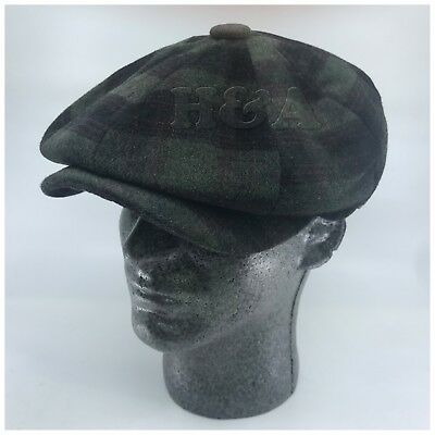 Men/'s Premium Wool Newsboy Applejack Paperboy 8 Panel Glen Plaid Hat Gray//Brown