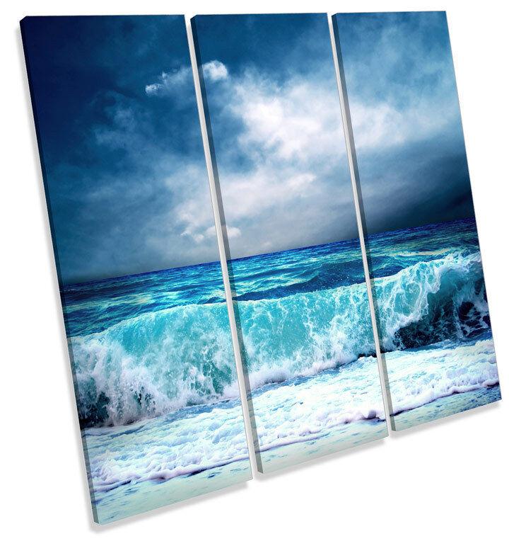 STORMY Beach WAVE FLORA art. a muro blu Treble Treble Treble SQUARE Stampa Foto ee556f