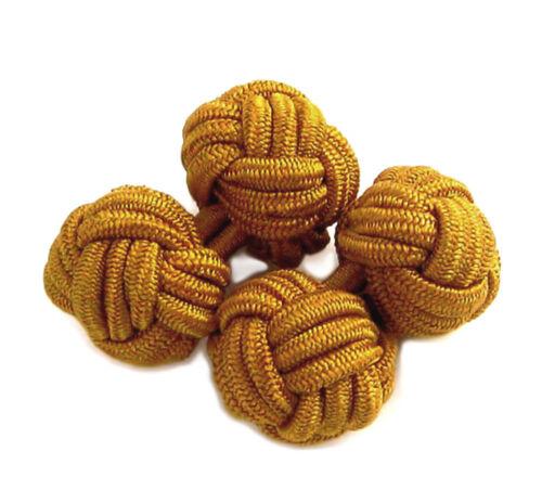 Seidenknoten 1 Paar altgold hellbraun ca 11 mm Durchmesser SKC06 ob