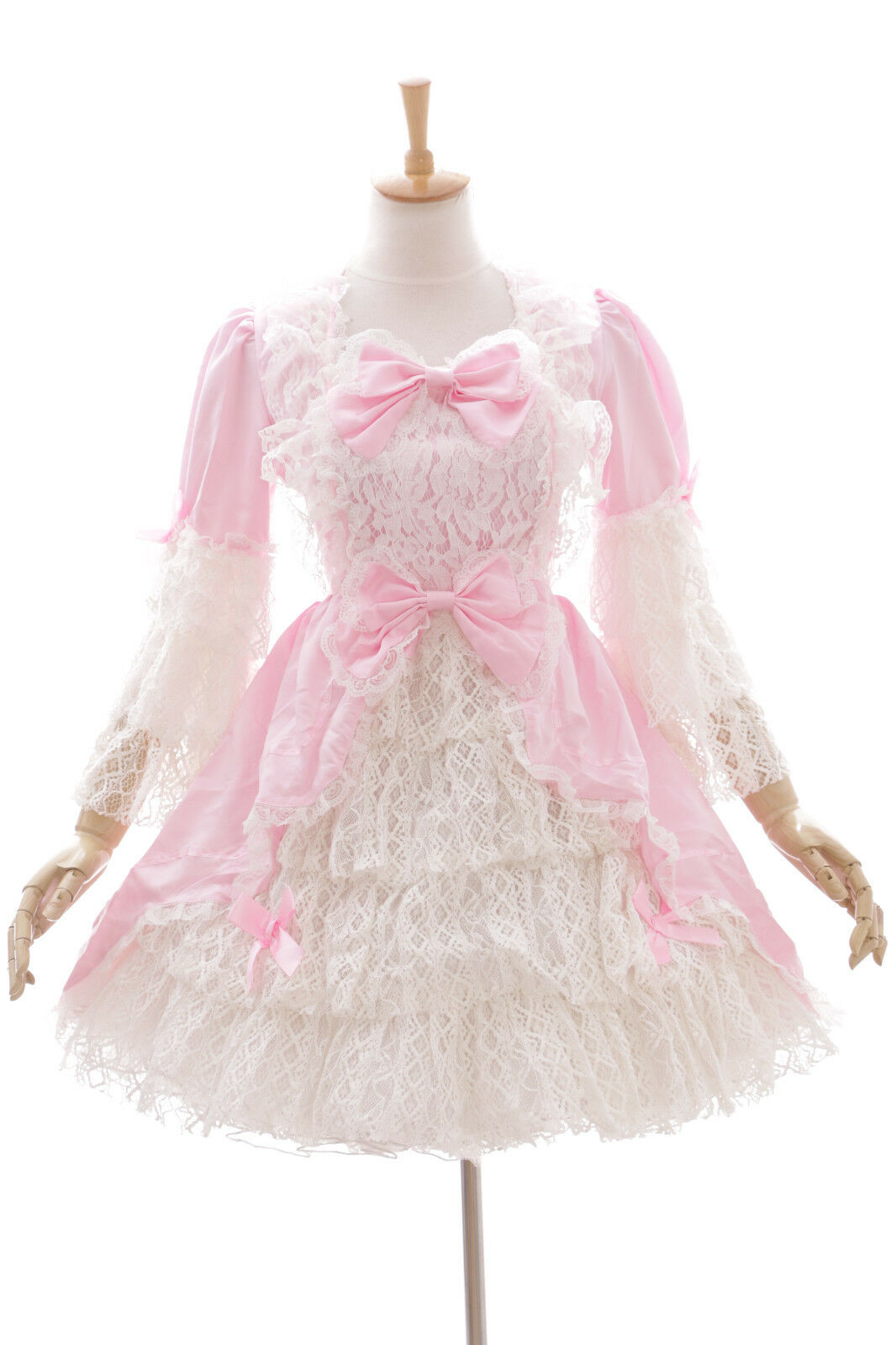 JL-622-1 Rosa weiß langarm Classic Spitze Lace Gothic Lolita Kleid Kostüm dress