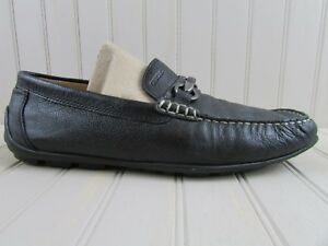 1c9f92945f9 Image is loading Geox-Respira-Black-Pebbled-Leather-Loafers-Horse-Bit-