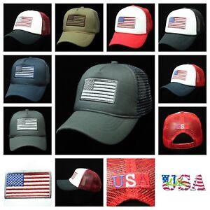 59c66ff0f60 Plain Baseball Cap US Flag Mesh Hat Trucker Snapback Fashion Caps ...