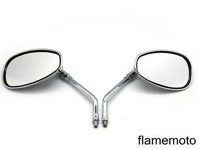 MOTORCYCLE CHROME OVAL SIDE REARVIEW MIRRORS FOR CRUISER CHOPPER 10MM HONDA