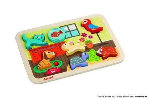 Puzzle JANOD Steckpuzzle Haustiere aus Holz Sortierspiel Katze Hund Papagei etc