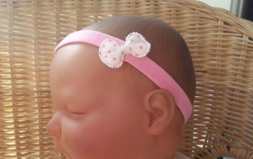 Bébé//reborn doll Dainty Polka Dot Bow Bandeau diverses couleurs 0-36 mois