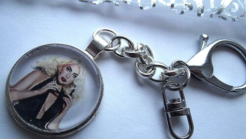 LADY GAGA  PHOTO KEY RING STRONG CHAIN SINGER  SILVER PLATED GIFT BOXED PARTY