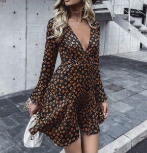 Blogger Hangerchen Kleid Tunika Volant Print Langarm 38 40 42 Schwarz R127 Neu Ebay