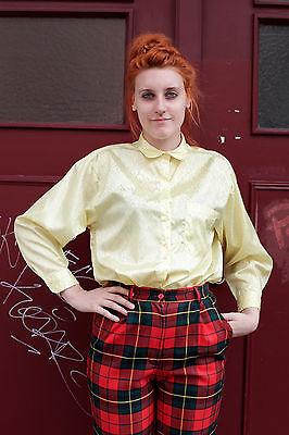 Camicia Da Donna Blouse 80er True Vintage 80´s Women Giallo Yellow Lucida Shiny Lucentezza-mostra Il Titolo Originale