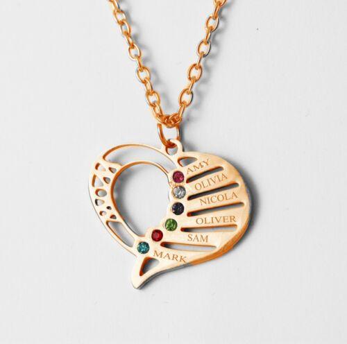 Collar De Nombre Personalizado Corazón Piedra cualquier 6 nombres Rose Joyas Regalo UK