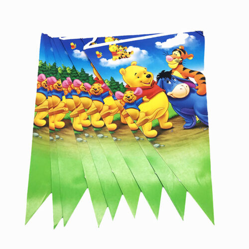 Winnie the Pooh Birthday Party Kids Tableware Decoration Tablecloth Balloon Cups