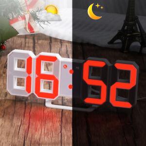 936cd46c0 Chargement de l image en cours LED-Numerique-3D-Table-Horloge-Murale-avec-3-