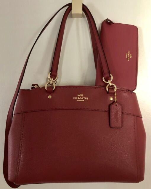Coach F25397 Brook Carryall Handbag Crossgrain Leather Rouge for ... 458cf8bb7aff3