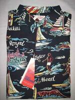 Reyn Spooner Alfred Shaheen Mens Black Hawaiian Theme Shirt Size Xl