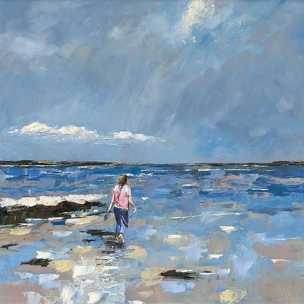 Nicole Laceur  Walking in Water Keilrahmen-Bild Leinwand Strand Spaziergang Frau