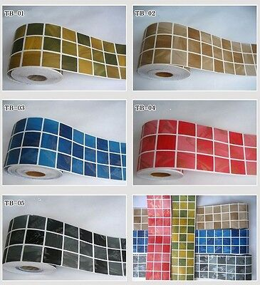 PVC Tile Floor Waistline Wall Paper Sticker Decal Home Decorate Kitchen Bathroom