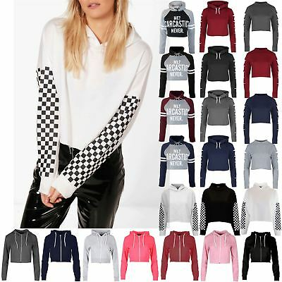 Womens Long Sleeve Check Printed Ladies Pullover Hooded Gingham Fleece Crop Top