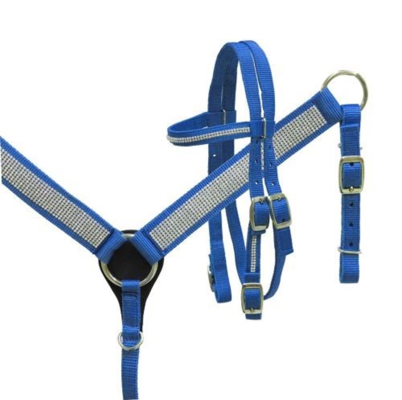 Showman Mini Small Pony blueE Nylon Headstall & Breast Collar Set W  Crystals
