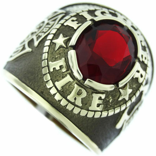FIRE DEPARTMENT RED STONE gold MALTESE SS RING SIZE 7 8 9 10 11 12 13 14