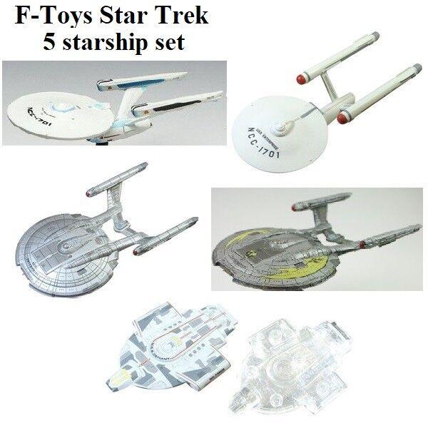 STAR TREK 1 2500 scale 5 STARSHIP set Enterprise NX, NXMM, 1701, refit & Defiant
