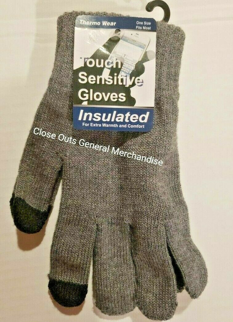 1 Pair Magic Stretch Gloves Smartphone Texting Touch Screen GRAY One SiZE
