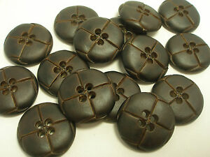 New-8-Faux-plastic-Leather-Brown-Buttons-Jacket-Coat-1-inch-7-8-13-16-5-8-F2