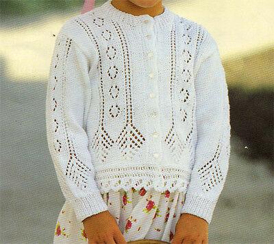 Beautiful Girls Lace Cardigan In 4 Ply Knitting Pattern