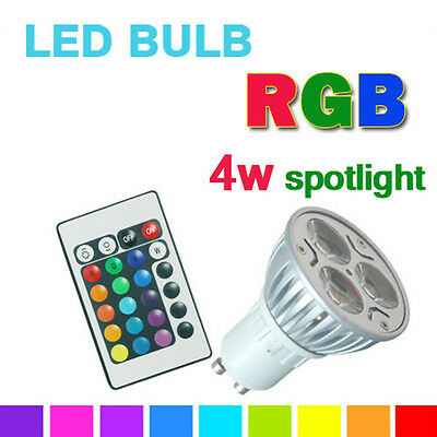 LED GU10 4W Remote Control LED Bulbs 16 Color Changing RGB Dimmable Spot light