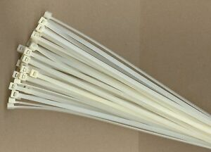 "100 8"" Inch Long 18# Pound NYLON Natural White Cable Zip Ties Ty Wraps MADE USA"