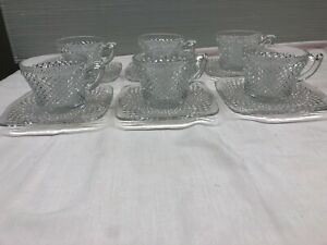 Lot-Of-6-Vintage-Depression-Anchor-Hocking-MISS-AMERICA-Cup-And-Saucer-Square