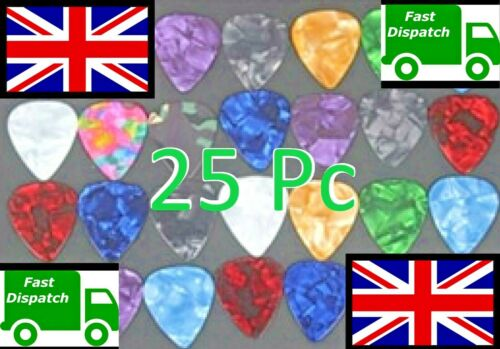 25 Guitar Plectrums Pics Picks Celluloid Acoustic Electric 0.46mm strings new