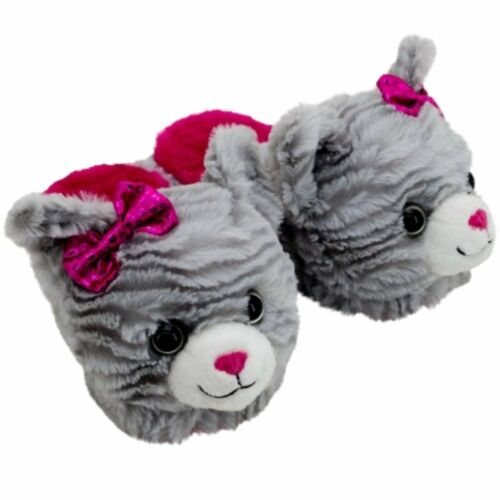 Dandee Girls Plush Gray Kitty Cat Scuff Style Slippers House Shoes