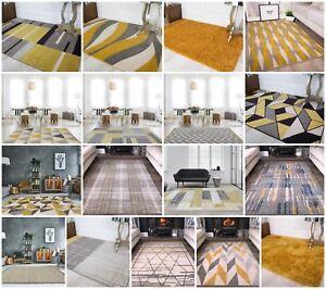 Ocre-moutarde-Tapis-pour-salle-de-sejour-moderne-doux-confortable-Jaune-amp-Gris-Geometric-Rugs