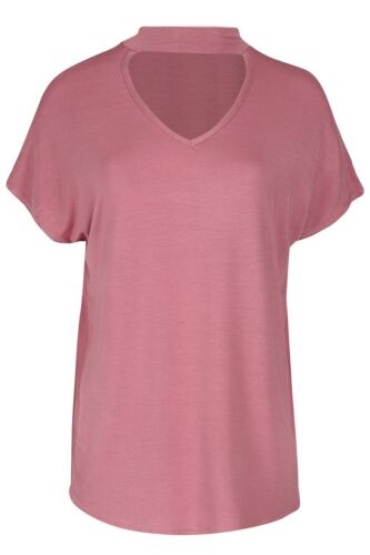 Ladies Choker V-Neck Oversized Lagenlook Rose Embroidery Curved Hem Womens Top
