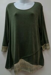 Chicos-Travelers-XL-Green-Womens-Top-Shirt-Blouse-3-4-Sleeve-Slinky-Stretch-3