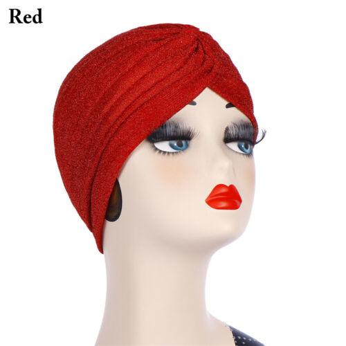 Women Shimmer Muslim Turban Hat Cancer Chemo Cap Elegant Cross Knotting Headwrap