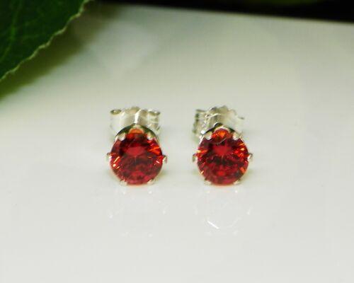 4mm - 8mm Round Red Garnet Cubic Zirconia CZ Sterling Silver Earrings