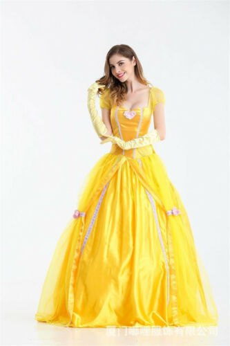 Halloween Costumes Beauty and the Beast Belle Fancy Dress Cosplay Womens Adults