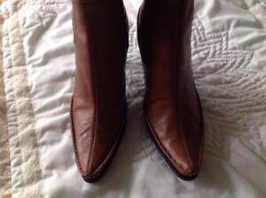 Fashion Mid West Nine Boot kuit 3 Brown 3 Nine enkellaars bruin Fashion ankle leder West calf Leather Mid qqBf4Ovw